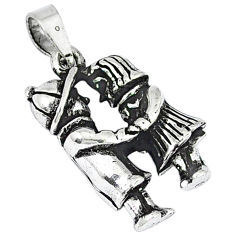 Indonesian bali style solid 925 sterling silver love couple pendant p2099