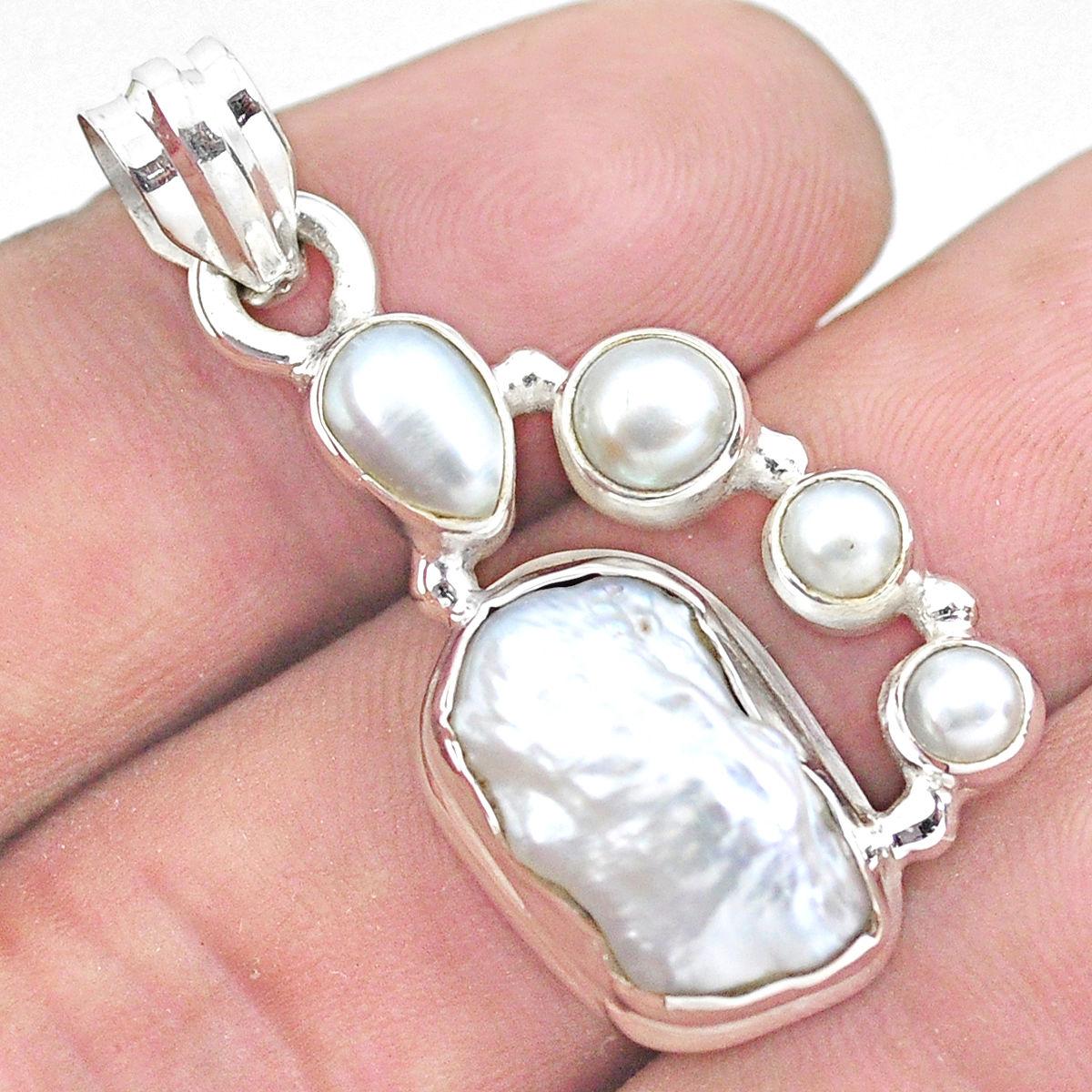 1 316 White Abalone Shell Biwa Pearl 925 Sterling Silver Pendant