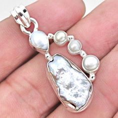 11.19cts natural white pearl fancy 925 sterling silver pendant jewelry p21036