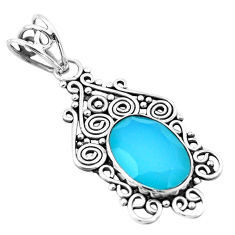 6.72cts natural aqua chalcedony 925 sterling silver pendant jewelry p21053
