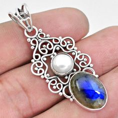 925 sterling silver 7.11cts natural blue labradorite white pearl pendant p21060
