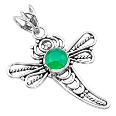 2.78cts natural green chalcedony 925 sterling silver dragonfly pendant p21061