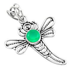 2.61cts natural green chalcedony 925 sterling silver dragonfly pendant p21062