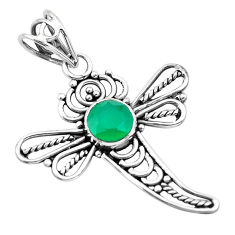 925 sterling silver 2.78cts natural green chalcedony dragonfly pendant p21063