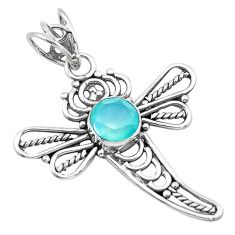 2.61cts natural aqua chalcedony 925 sterling silver dragonfly pendant p21067