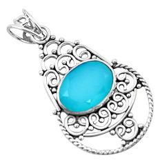 5.96cts natural aqua chalcedony 925 sterling silver pendant jewelry p21071