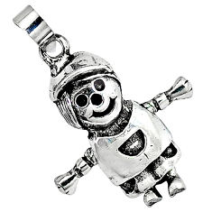 3d moving charm solid 925 sterling silver doll pendant jewelry p2110