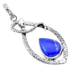 10.47cts natural blue lapis lazuli 925 sterling silver snake pendant p21105