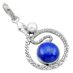 7.78cts natural blue lapis lazuli pearl 925 sterling silver snake pendant p21107