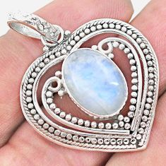 925 sterling silver 7.02cts natural rainbow moonstone heart pendant p21119
