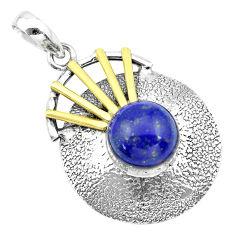 5.42cts victorian natural blue lapis lazuli 925 silver two tone pendant p21122