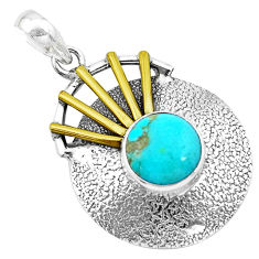 4.93cts victorian green arizona mohave turquoise silver two tone pendant p21127