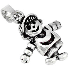 925 sterling silver 3d moving charm solid doll pendant jewelry p2113