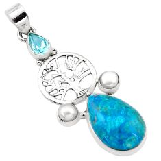 15.85cts natural blue peruvian chrysocolla silver tree of life pendant p21143