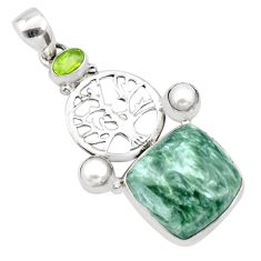 17.69cts natural green seraphinite 925 silver tree of life pendant p21147