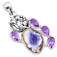 18.15cts natural purple opal fancy 925 silver cupid angel wings pendant p21150