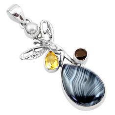 17.69cts natural black psilomelane 925 silver angel wings fairy pendant p21174