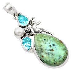 Natural green norwegian turquoise 925 silver cupid angel wings pendant p21178