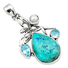 Natural blue peruvian chrysocolla 925 silver angel wings fairy pendant p21179