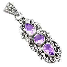 4.92cts natural purple amethyst 925 sterling silver pendant jewelry p21218