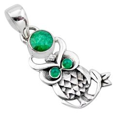 1.74cts natural green emerald chalcedony 925 sterling silver owl pendant p21234