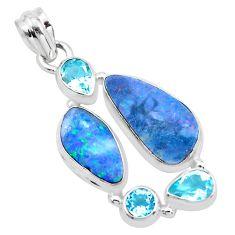 13.71cts natural blue doublet opal australian topaz 925 silver pendant p22281
