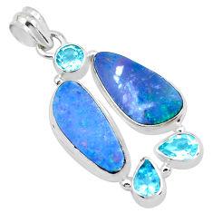14.61cts natural blue doublet opal australian topaz 925 silver pendant p22291