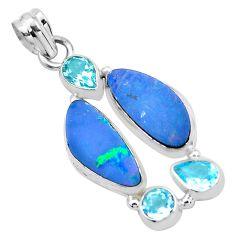 925 silver 12.04cts natural blue doublet opal australian topaz pendant p22296