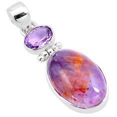 925 sterling silver 16.39cts natural obsidian eye purple amethyst pendant p23054