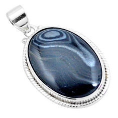 24.00cts natural black psilomelane (crown of silver) 925 silver pendant p23082