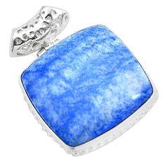30.40cts natural blue quartz palm stone 925 sterling silver pendant p23124