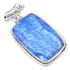 31.00cts natural blue quartz palm stone 925 sterling silver pendant p23125