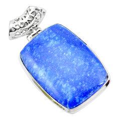 25.60cts natural blue quartz palm stone 925 sterling silver pendant p23126