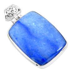 20.51cts natural blue quartz palm stone 925 sterling silver pendant p23128