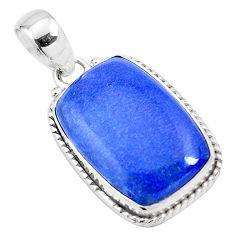 14.40cts natural blue quartz palm stone 925 sterling silver pendant p23133