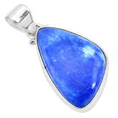 14.23cts natural blue quartz palm stone 925 sterling silver pendant p23134