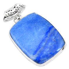 925 sterling silver 28.10cts natural blue quartz palm stone pendant p23135