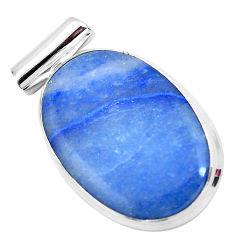 925 sterling silver 24.00cts natural blue quartz palm stone oval pendant p23140