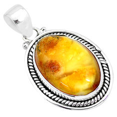 925 sterling silver 12.53cts natural yellow amber bone pendant jewelry p23224