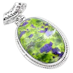 28.11cts natural green atlantisite stichtite-serpentine silver pendant p23261