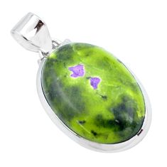 17.95cts natural green atlantisite stichtite-serpentine silver pendant p23278