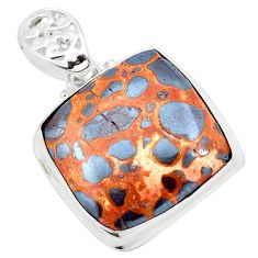 24.35cts natural brown bauxite 925 sterling silver pendant jewelry p23283