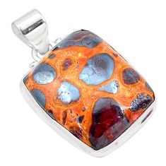 20.55cts natural brown bauxite 925 sterling silver pendant jewelry p23291