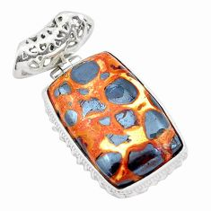 24.38cts natural brown bauxite 925 sterling silver pendant jewelry p23298