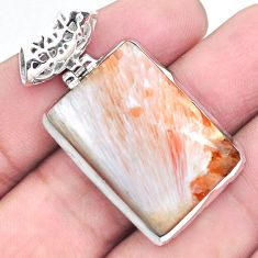 27.05cts natural orange scolecite high vibration crystal silver pendant p23314