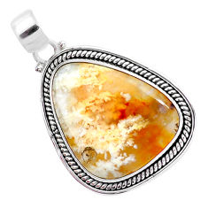 21.92cts natural multi color plume agate 925 sterling silver pendant p23332