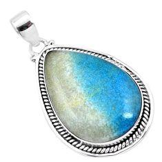 26.03cts natural blue dumorite (dumortierite) 925 sterling silver pendant p23384