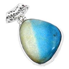 925 sterling silver 27.03cts natural blue dumorite (dumortierite) pendant p23395