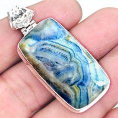 27.05cts natural blue scheelite (lapis lace onyx) 925 silver pendant p23422