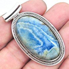 30.40cts natural blue scheelite (lapis lace onyx) 925 silver pendant p23430
